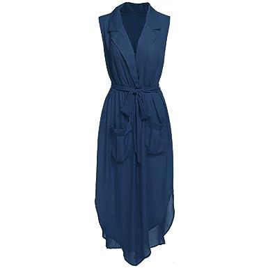 16eeb715f9c0 World-Palm Fashion Women Sleeveless Slit Chiffon Maxi Shirt Dress with Belt  at Amazon Women's Clothing store: