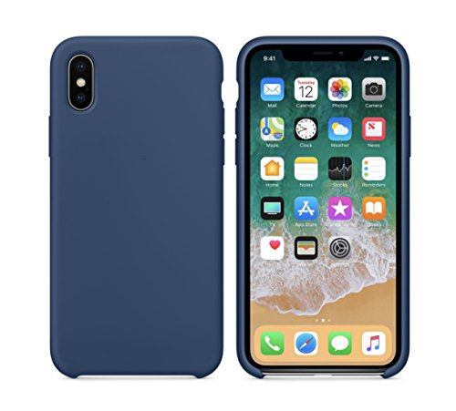 iPhone X Turboboost Liquid Silicone Gel Rubber Case Cover with Soft Microfiber Cloth Lining Cushion for Apple iPhone 7/8 (Diamond Blue, iPhone X)