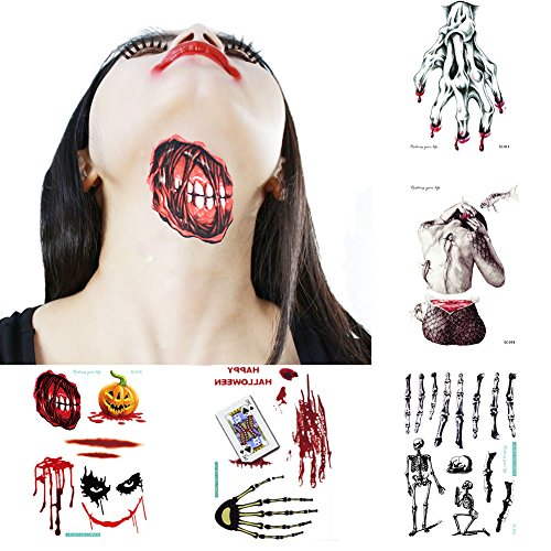 Halloween Temporary Tattoo Skull Body Stickers Fake Tattoos Realistic for Women Men, Scar Zombie Fake Blood Makeup For Halloween Costume, VIWIEU Spooky Halloween Party Favors ()