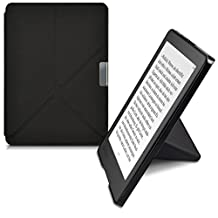 kwmobile Elegant flip synthetic leather case for Kobo Aura Edition 2 in black - practical magnetic clasp and stand function