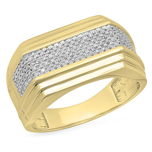 0.35 Carat (ctw) 10K Yellow Gold White Diamond Men's Hip Hop Micro Pave Wedding Band 1/3 CT (Size 10) by DazzlingRock Collection