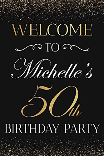 Birthday Banners With Photo Personalized (Fifty Anniversary, 50th Birthday Welcome Party Sign Personalized Birthday Banner Custom Names Poster Handmade Party Supply 50th Anniversary Sign, birthday decorations, Wedding sign, Size 36x24,)