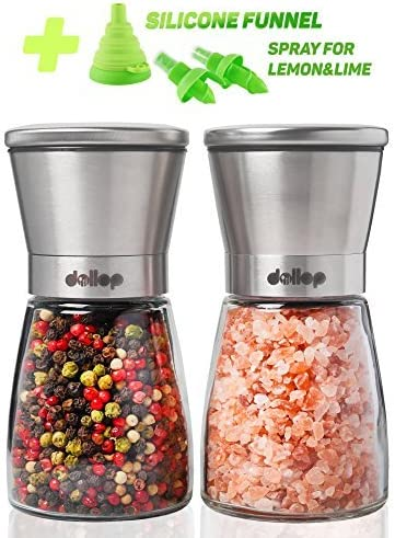 Spice Mill Spices Refillable Adjustable Coarseness Best Choice for , Peppercorn Glass Body Pepper Grinder for Professional Level Use Sea Salt Classic Round Salt Stainless Steel /& Black