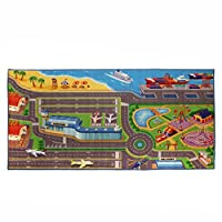 IQ Toys Kids City Playmat Road Rug Traffic Airport Beach & Amusement Carpet for Matchbox Cars 36 X 72 Inches Washable, Made with Anti-Slip Bottom & Reinforced Edging