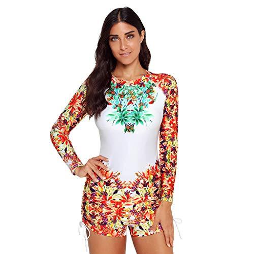(Women Long Sleeve Rashguard Two Piece Swimsuit UV Protection Block Surfing Swimwear Bathing Suit CapsA)