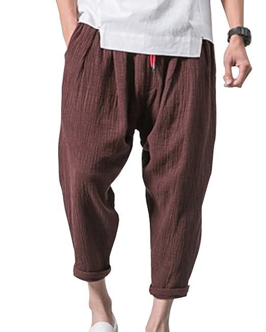 check-out 510a1 17031 Aden Pantaloni Di Lino Uomo Baggy Casual Pantalone Con ...