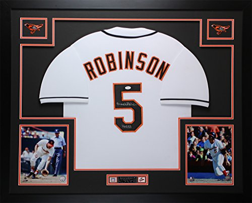 Brooks Robinson Autographed White Orioles Jersey - Beautifully Matted and Framed - Hand Signed By Brooks Robinson and Certified Authentic by Auto JSA COA - Includes Certificate of Authenticity