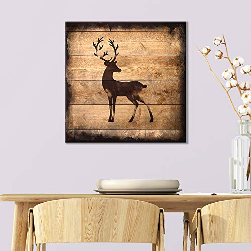Square Deer Silhouette on Rustic Wood Board Texture Background