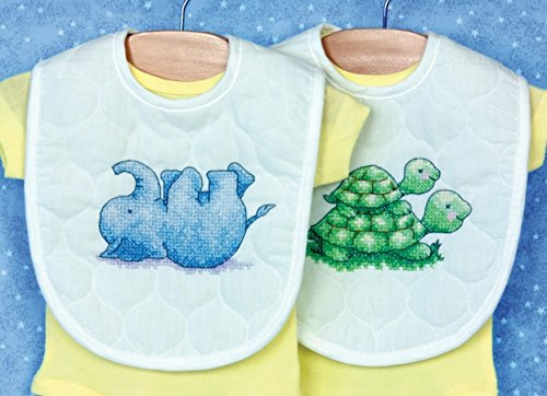 Little Pond Bib Pair Stamped Cross Stitch Kit-9x14 Set Of 2 Counted Cross Stitch Baby Bibs