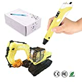 JYFU 3D Doodle Printing Pen with High Low Temp Modes LCD Temp Display Screen Low Temp Nozzle Low Noise for Arts Crafts DIY Perfect Gift for Kids and Adults, Blue Yellow (yellow)
