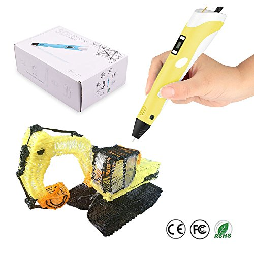 JYFU 3D Doodle Printing Pen with High Low Temp Modes LCD Temp Display Screen Low Temp Nozzle Low Noise for Arts Crafts DIY Perfect Gift for Kids and Adults, Blue Yellow (yellow) by JYFU