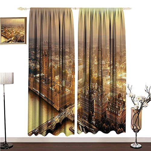 Anshesix Printed Curtain Fabric Westminster Aerial View with Thames River and London Urban Cityscape Panoramic Picture W108 xL96 Bedroom Balcony Living Room ()