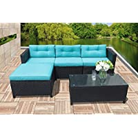 Outdoor Patio Furniture Set, 5pc PE Wicker Rattan Sectional Furniture Set with Blue Seat and Back Cushions, Steel Frame, Black