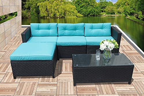 Patiorama Patio Conversation Set, 5 Piece Outdoor Sectional Furniture Black Rattan Wcker Patio Furniture with Blue Cushion, Porch Garden Balcony Outside Furniture