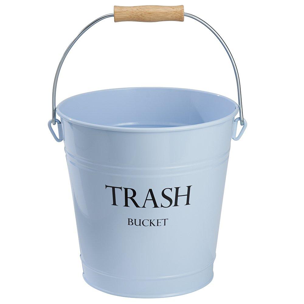 InterDesign Pail Wastebasket Trash Can, Metal, Light Blue