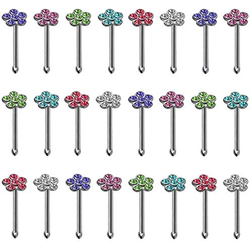 BodyJ4You 24PCS Nose Ring Bone Stud Pin Flower CZ 20G Stainless Steel Nostril Body Piercing -