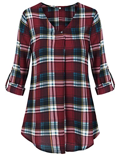 SUNGLORY Tunic Long Sleeves for WomenV Neck Casual Plaid Blouse Shirts Wine Red L