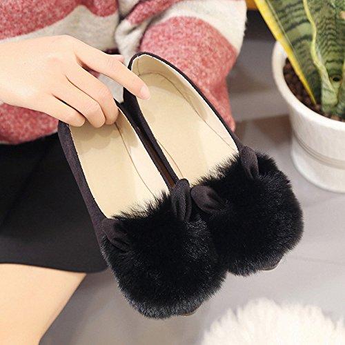 Y-Hui Otoño e Invierno zapatos nuevos zapatos zapatos planos All-Match Slip-On señaló boca superficial,35 (apto para 34 pies), Negro