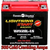Harley FXDC Dyna Super Glide Custom 1340, 1450, 1584, 1690 500cca Lightning Start 20ah High Performance Sealed AGM Motorcycle Battery replacement for year 1992, 2005, 2006, 2007, 2008, 2009, 2010, 2011, 2012, 2013, 2014