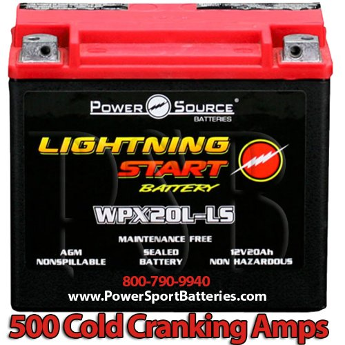 Harley FXST Softail Standard 1340, 1450, 1584, 1690 500cca Lightning Start 20ah High Performance Sealed AGM Motorcycle Battery replacement for year 1999, 2000, 2001, 2002, 2003, 2004, 2005, 2006, 2007, 2008, 2009, 2010, 2011, 2012, 2013, 2014