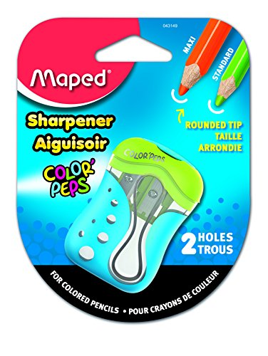 Maped Color'Peps 2 Hole Colored Pencil Sharpener, Assorted Colors (043149) (Maped Color Peps)