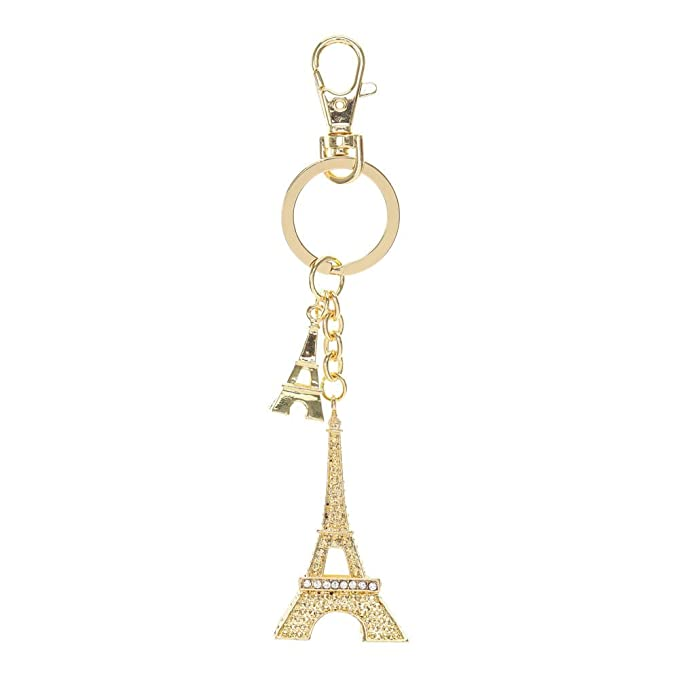 Claire de chica de oro de la torre Eiffel de París llavero ...