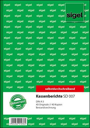 Sigel SD007 Kassenbericht/Bestandsrechnung A5, 2x40 Blatt, selbstdurchschreibend, 1 Stück
