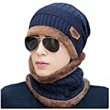 KOODER Winter hats; Knitted Beanie Caps, with scarves included! Extra thick, lamb wool added for extra warmth and comfort (Navy)
