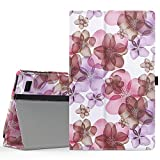 MoKo Case for Fire 7 2015 - Slim Folding Cover for Amazon Fire Tablet (7 inch Display - 5th Generation, 2015 Release Only), Floral PURPLE