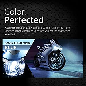 OPT7 Bolt AC 55w Single HID Kit for Motorcycles - 5x Brighter - All Bulb Sizes and Colors - Simple Install - 2 Yr Warranty [H4 Hi-Lo - 6000K Lightning Blue]