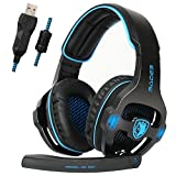 SADES SA903S Gaming Headset 7.1 Surround Sound USB PC Computer Stereo Game Headphone with Microphone LED Light(Blackblue) For Sale