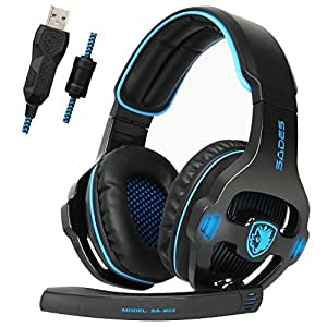 SADES SA903S Gaming Headset 7.1 Surround Sound USB PC Computer Stereo Game Headphone with Microphone LED Light(Blackblue)