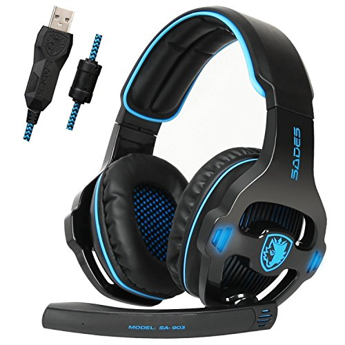 Sades SA903 USB 7.1 Surround Sound Stereo Gaming Headset with Mic (Best Selling Gaming Headset)