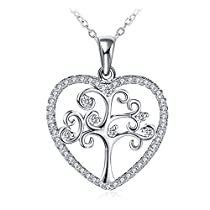 Women 925 Sterling Silver Heart Tree and Flower Necklace Cubic Zirconia GUNDULA Fine Jewelry