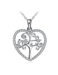 Women 925 Sterling Silver Heart Tree and Flower Necklace Cubic Zirconia GUNDULA Fine Jewelry