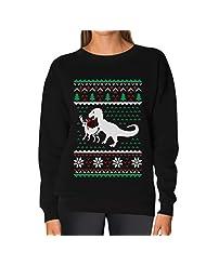 TeeStars - Ugly Christmas Sweater T-Rex VS Reindeer Funny Gift Women Sweatshirt