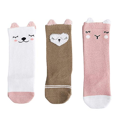 (FQIAO Children Baby Socks 1-3 Years 3Packs Unisex Cotton S Size Autumn Winter Cartoon Middle Tube Breathable Sock)