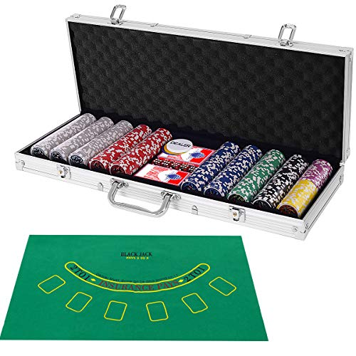 Costzon 500 Piece Poker Chip Set, 11.5 Gram with Aluminum Case, 5 Dice Chips, 2 Decks of Playing Cards, Dealer Buttons (Sliver)