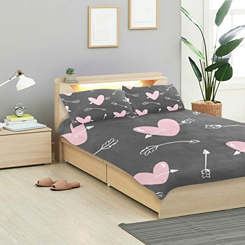 CANCAKA Valentines Duvet Cover Set Valentines Day Pattern Arrows Hearts Design Bedding Decoration Twin XL Size 3 PC Sets 1 Duvets Covers with 2 Pillowcase Microfiber Bedding Set Bedroom Decor Accesso