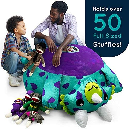 Stuffums Bean Bag Chair and Stuffed Animal Storage 3-foot Turquoise Triceratops Dinosaur Pouf