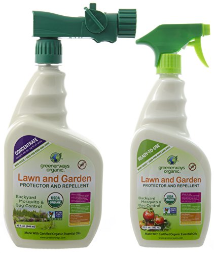 Greenerways Organic Backyard Insect Repellent, Mosquito Repellant Spray and Natural Bug Spray Concentrate, Safe Bug Spray for Kids, Pets, DEET-FREE, Outdoor Pest Control, 2-PACK DEAL (1) 23oz (1) 32oz