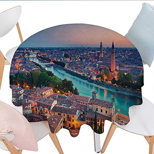 (Wrinkle Free Anti-Fading Tablecloths, Verona Italy During Summer Sunset Blue Hour Adige River Medieval Historcal, for Dining Room (Round, 50 Inch, Aqua Coral Green))
