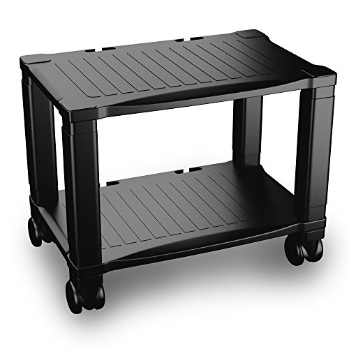 Printer Stand with Wheels - 2 Tiers Shelf - Small Under the Desk Machine  Stand Cart -Mini Home Office Rolling Mobile Storage Solution