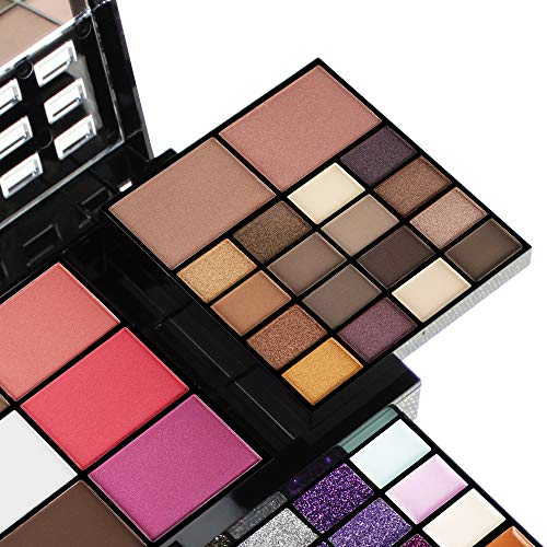 All In One Makeup Gift Kit - Ultimate Color Combination - 36 Eyeshadow, 28 Lip Gloss, 3 Blusher, 4 Concealer, 3 Contour Powder, 3 Brushes, 1 Mirror, 74 Colors Makeup Set Combination Palette