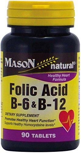 Mason Vitamins Folic Acid B-6 & B12 Heart Health Formula 90 Tablets per Bottle