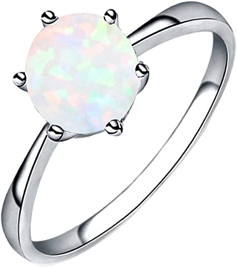 Fashion Ring Opals Engagement Gift Set with Diamond Ring Valentines Day Gifts for Girlfriend Boyfriend US Size