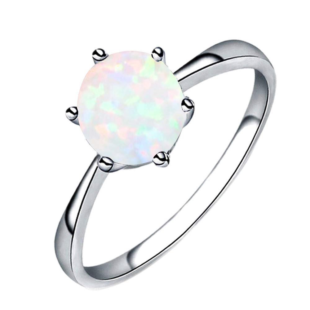 HUAMING Hot!Opal Ring Fashion Women Jewelry Filled Wedding Six Claw Thin Ring Clothing Must Have (White, 6)