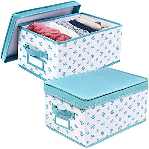 Homyfort Foldable Storage Box Bins with Lid,Sturdy Canvas Drawer Dresser Organizer for Closet Clothes,Bras,Ties, Set of 2 White Canvas with Blue Flowers
