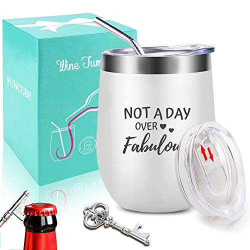 Wine Tumbler with Saying |Not A Day Over Fabulous| 12 oz Stainless Steel Double Insulated Stemless Wine Glass with Lid and Straw + Key Bottle Opener Set,Funny Gift for Men (Christmas Day Sayings)