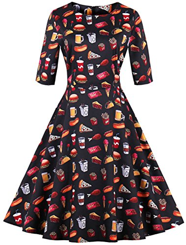 Dear-Queen Women's 3/4 Sleeve 1950s Vintage Style Hollywood Star Midi Cocktail Party Dress Various Styles (XX-Large, Burger fries) ()